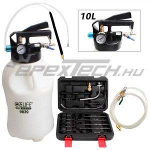 Sebességváltó olajfeltöltő, 10 literes, 15 db adapterrel