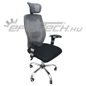 Állítható magasságú irodai szék deréktámasszal, hálós háttámlával és fejtámlával
