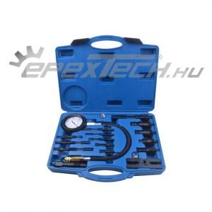 Diesel kompresszió mérő készlet, adapterekkel, 0-70bar