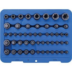 Behajtófej- és dugókulcs-készlet , E-profil / Torx / Torx furattal / Torx plus , 52 darabos